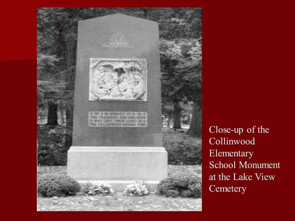 Close-up of the Collinwood Elementary School Monument at the Lake View Cemetery