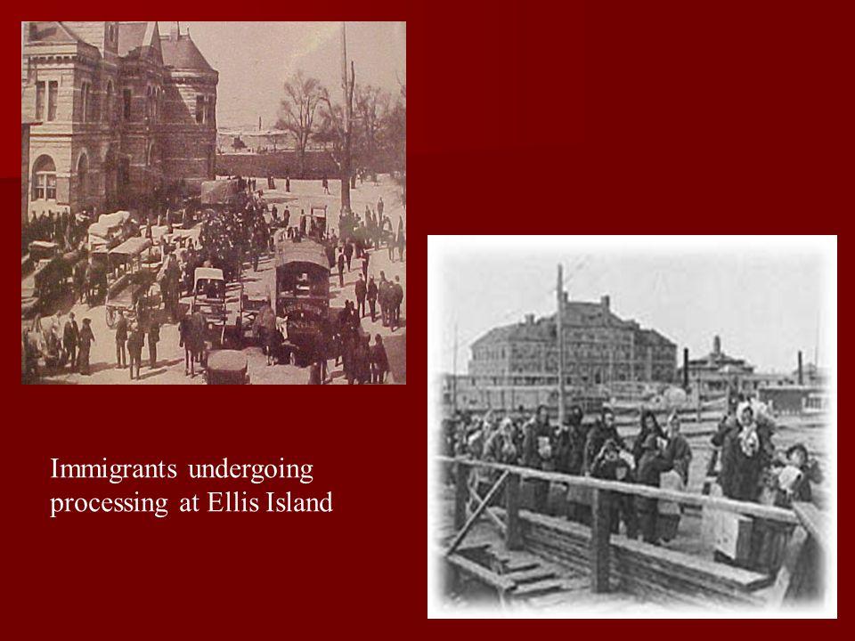 Immigrants undergoing processing at Ellis Island