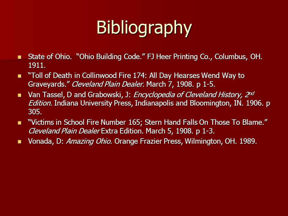 Bibliography State of Ohio. Ohio Building Code. FJ Heer Printing Co., Columbus, OH.