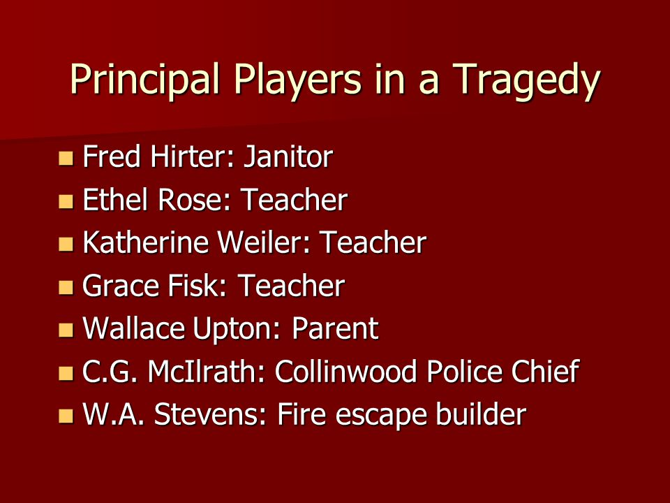 Principal Players in a Tragedy Fred Hirter: Janitor Fred Hirter: Janitor Ethel Rose: Teacher Ethel Rose: Teacher Katherine Weiler: Teacher Katherine W