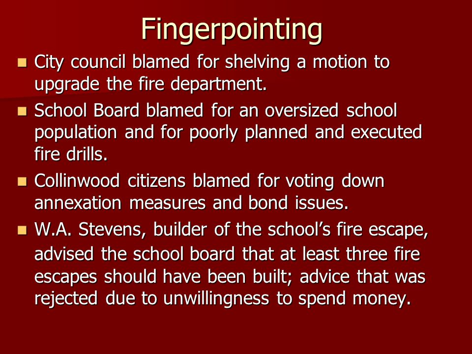 Fingerpointing City council blamed for shelving a motion to upgrade the fire department.
