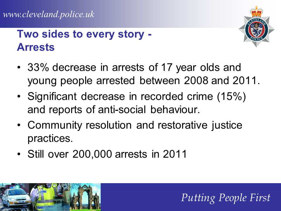 www.cleveland.police.uk Putting People First Two sides to every story - Arrests 33% decrease in arrests of 17 year olds and young people arrested between 2008 and 2011.