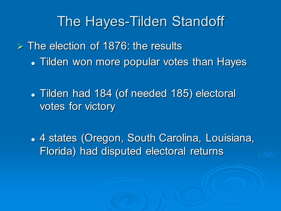 The Hayes-Tilden Standoff  The election of 1876: the results Tilden won more popular votes than Hayes Tilden won more popular votes than Hayes Tilden