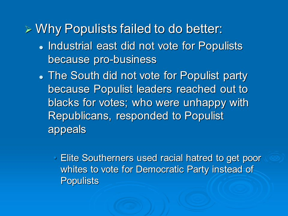  Why Populists failed to do better: Industrial east did not vote for Populists because pro-business Industrial east did not vote for Populists becaus