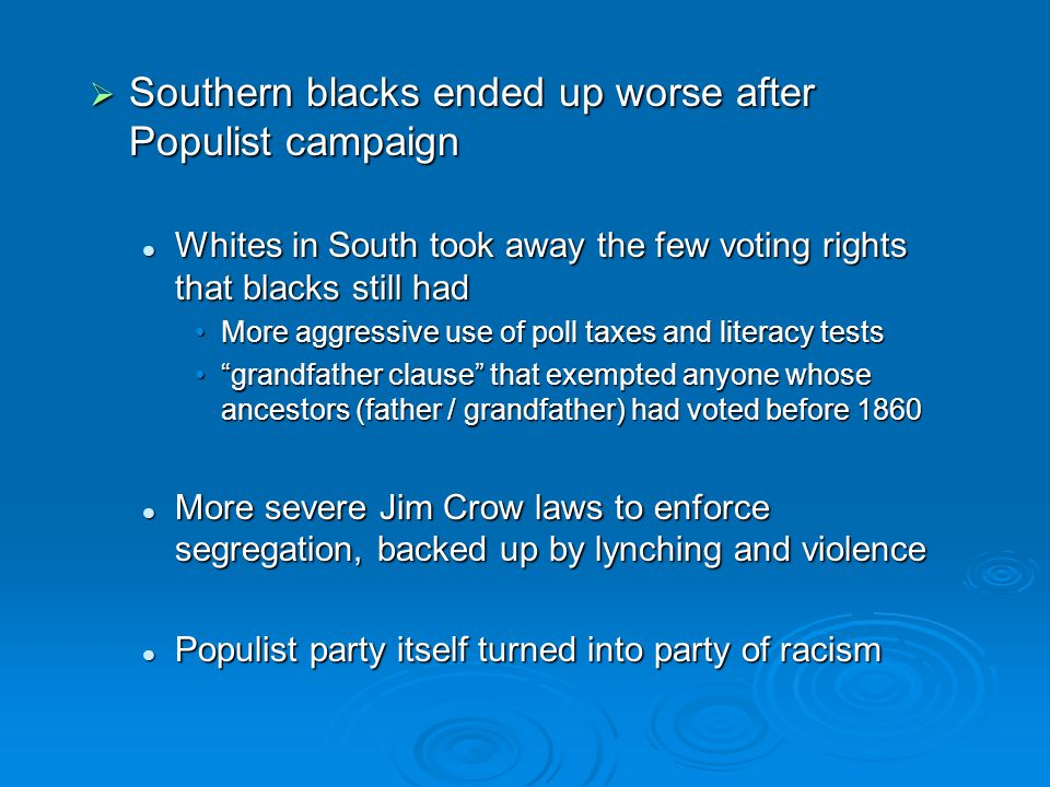  Southern blacks ended up worse after Populist campaign Whites in South took away the few voting rights that blacks still had Whites in South took aw