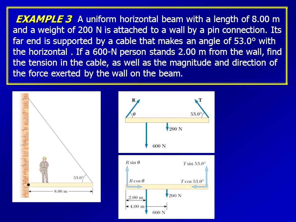 EXAMPLE 3 A uniform horizontal beam with a length of 8.00 m and a weight of 200 N is attached to a wall by a pin connection.