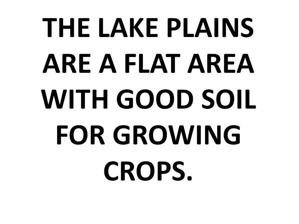 THE LAKE PLAINS ARE A FLAT AREA WITH GOOD SOIL FOR GROWING CROPS.