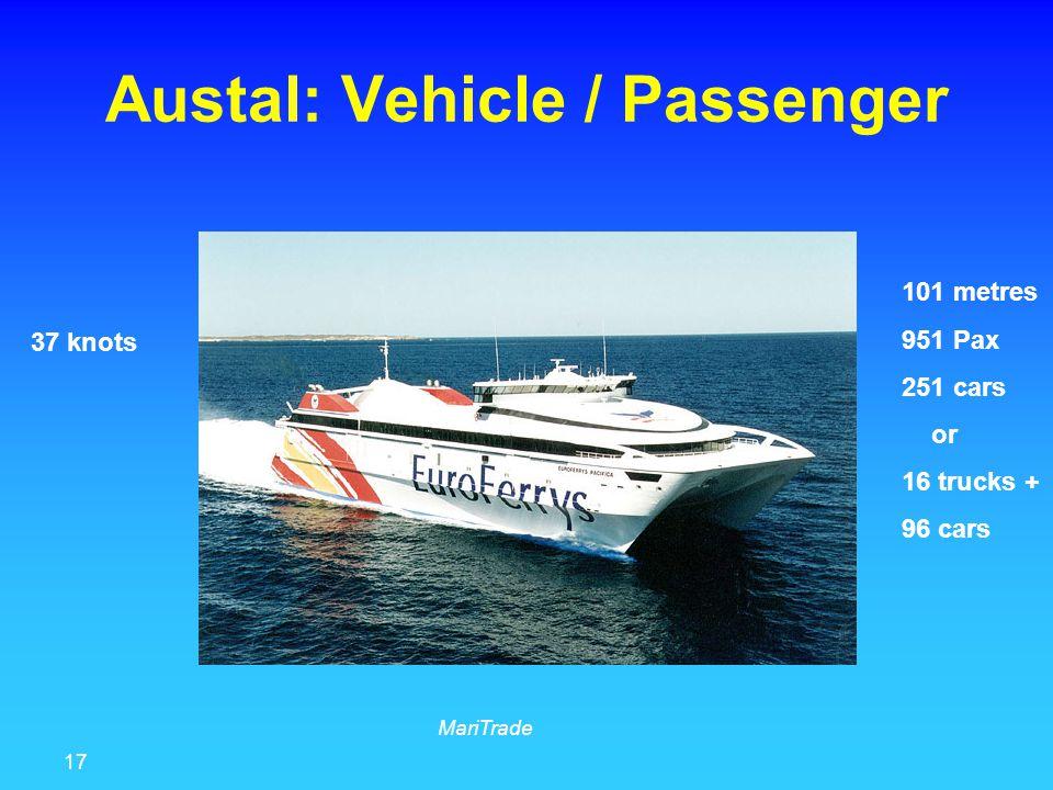 17 MariTrade Austal: Vehicle / Passenger 101 metres 951 Pax 251 cars or 16 trucks + 96 cars 37 knots