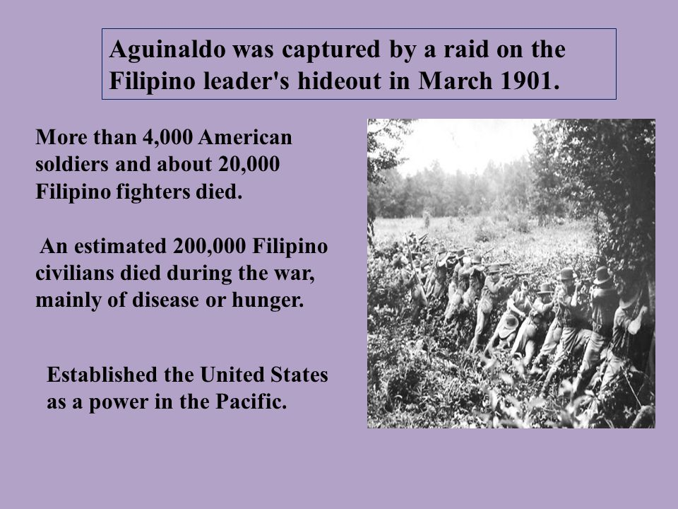 More than 4,000 American soldiers and about 20,000 Filipino fighters died.