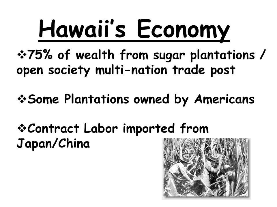 Queen Lili'uokalani 1891 Queen new policy: (1)End foreign influence (2) Restore Hawaii monarchy / take back Hawaii from business dominance