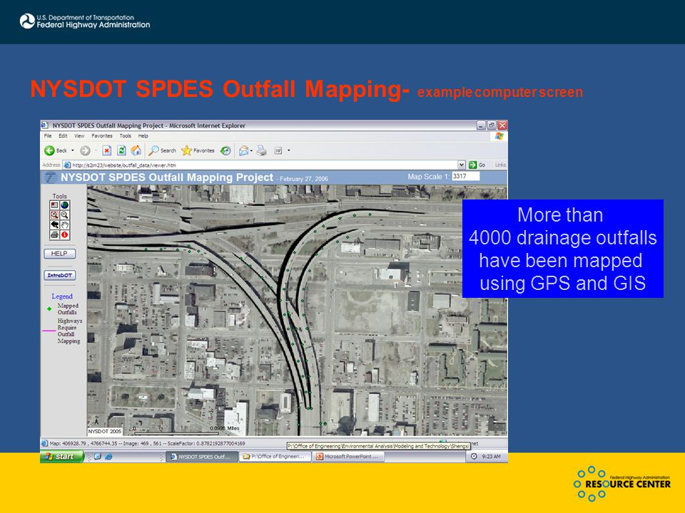 NYSDOT SPDES Outfall Mapping- example computer screen More than 4000 drainage outfalls have been mapped using GPS and GIS