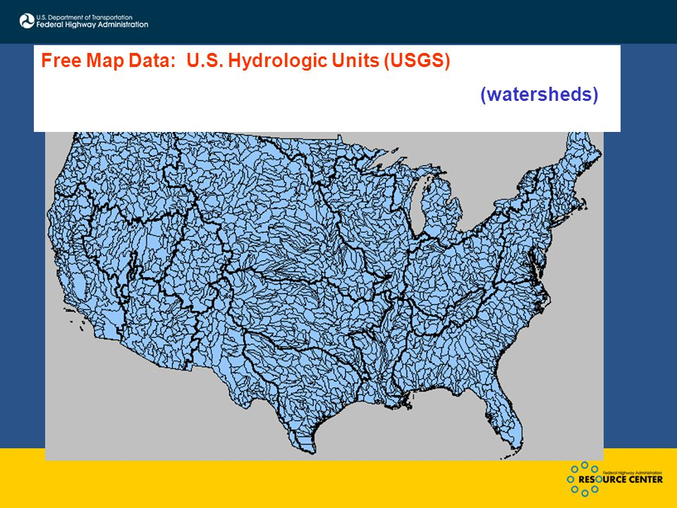 Free Map Data: U.S. Hydrologic Units (USGS) (watersheds)