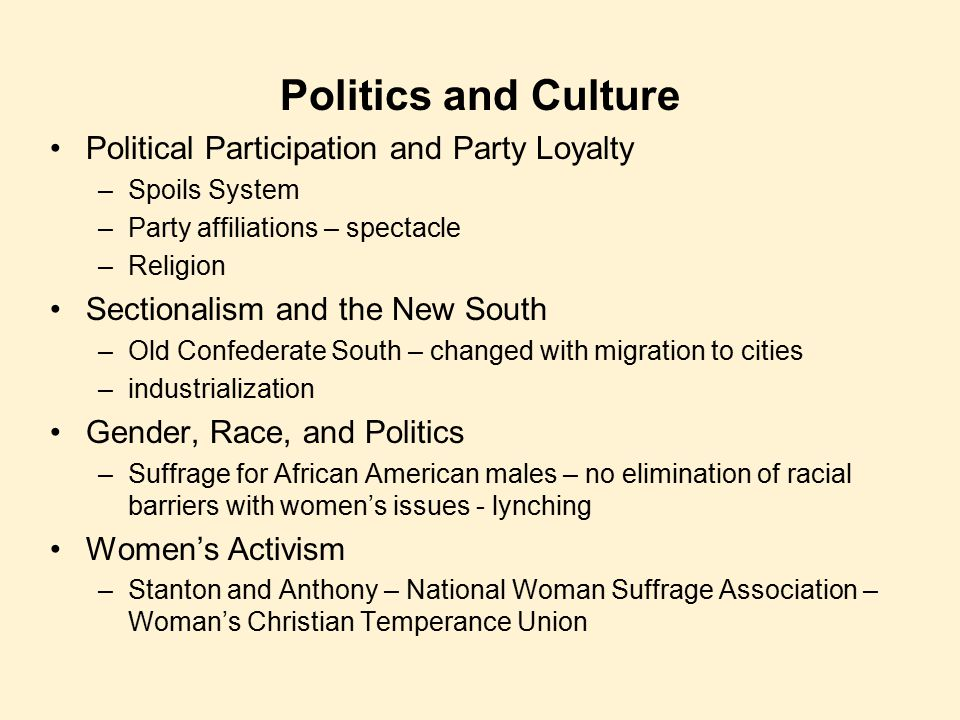 Politics and Culture Political Participation and Party Loyalty –Spoils System –Party affiliations – spectacle –Religion Sectionalism and the New South