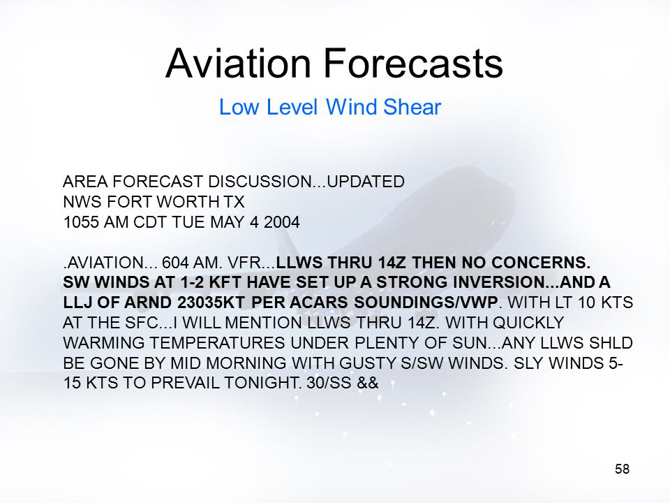 58 Aviation Forecasts AREA FORECAST DISCUSSION...UPDATED NWS FORT WORTH TX 1055 AM CDT TUE MAY 4 2004.AVIATION... 604 AM. VFR...LLWS THRU 14Z THEN NO