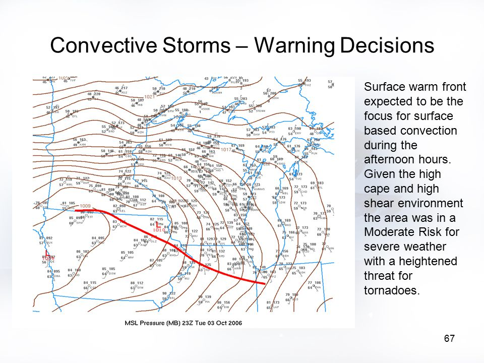 67 Convective Storms – Warning Decisions Surface warm front expected to be the focus for surface based convection during the afternoon hours. Given th