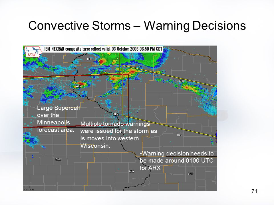 71 Convective Storms – Warning Decisions Large Supercell over the Minneapolis forecast area. Multiple tornado warnings were issued for the storm as is