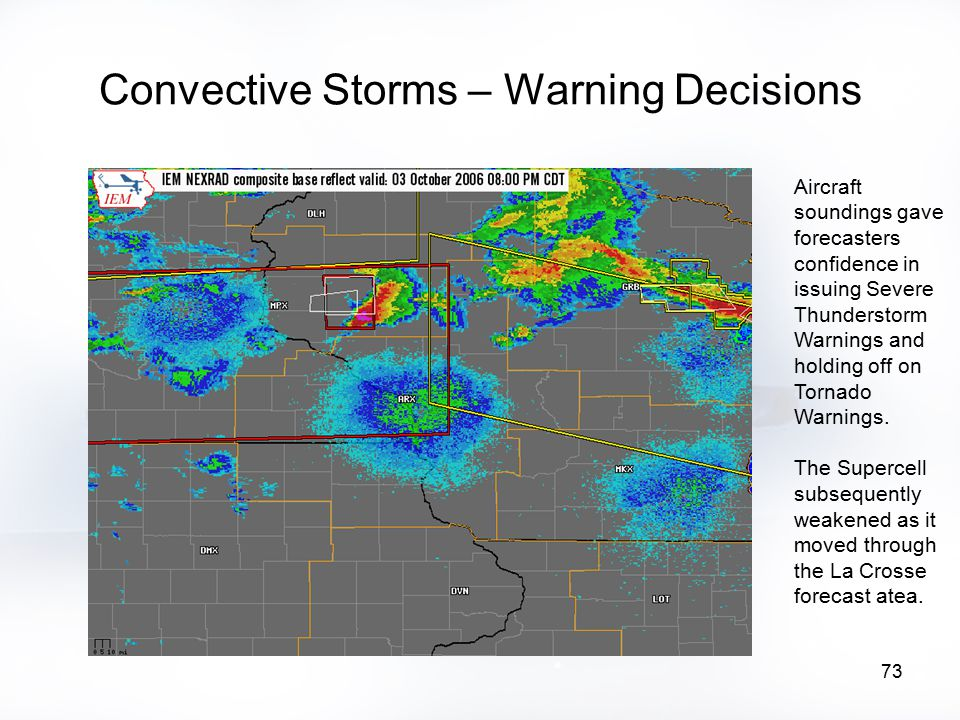 73 Convective Storms – Warning Decisions Aircraft soundings gave forecasters confidence in issuing Severe Thunderstorm Warnings and holding off on Tor