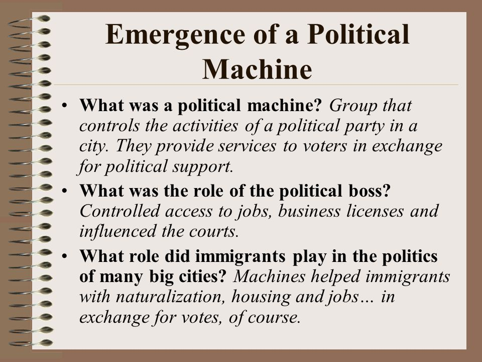 Politics of the Gilded Age Local and national political corruption in the 19 th century led to calls for reform.