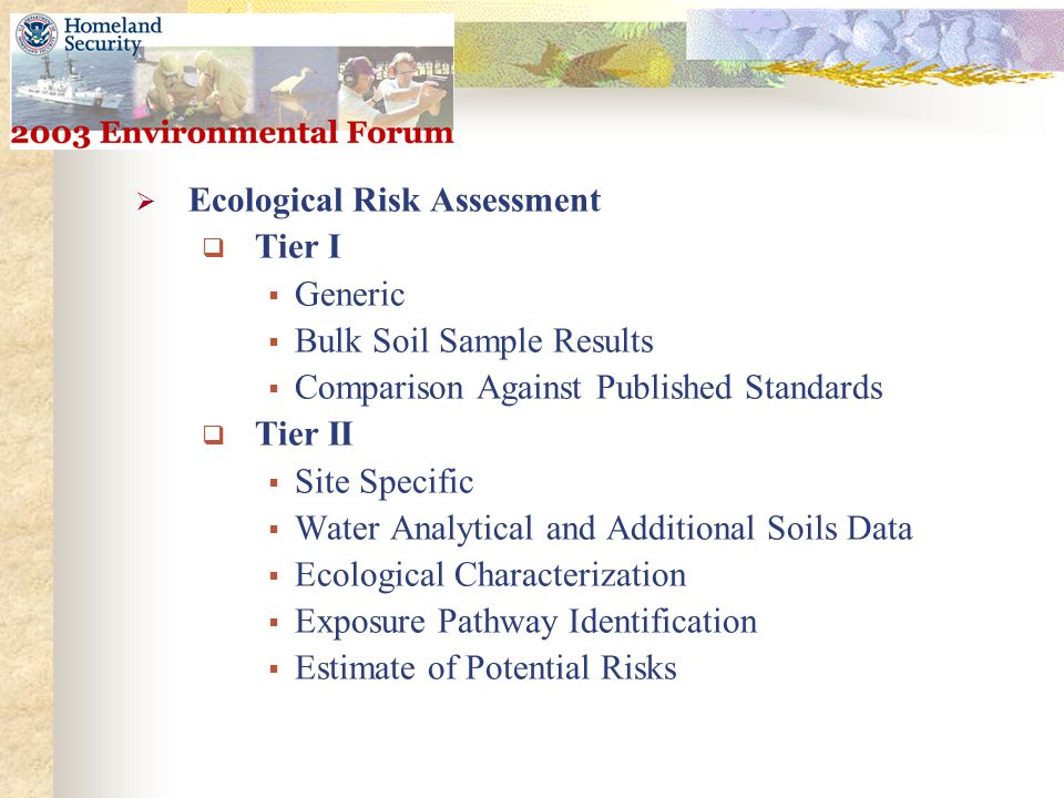  Ecological Risk Assessment  Tier I  Generic  Bulk Soil Sample Results  Comparison Against Published Standards  Tier II  Site Specific  Water Analytical and Additional Soils Data  Ecological Characterization  Exposure Pathway Identification  Estimate of Potential Risks