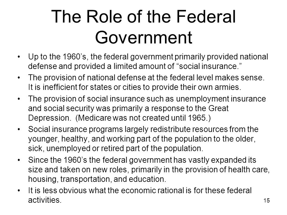 The Role of the Federal Government Up to the 1960's, the federal government primarily provided national defense and provided a limited amount of social insurance. The provision of national defense at the federal level makes sense.