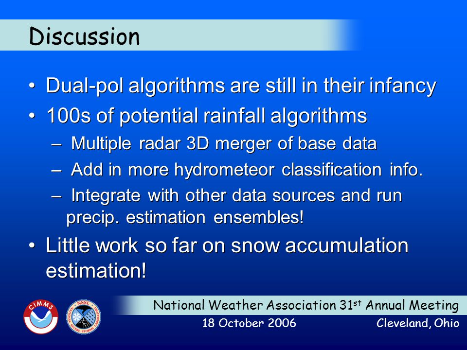 National Weather Association 31 st Annual Meeting 18 October 2006 Cleveland, Ohio Discussion Dual-pol algorithms are still in their infancy 100s of po