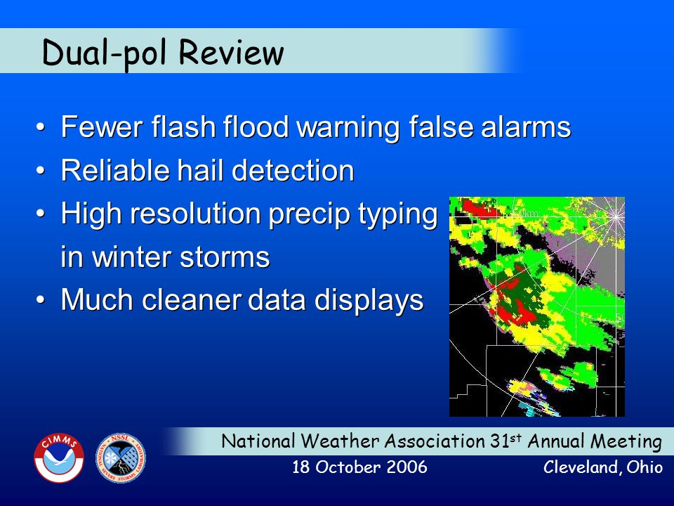 National Weather Association 31 st Annual Meeting 18 October 2006 Cleveland, Ohio Dual-pol Review Fewer flash flood warning false alarms Reliable hail