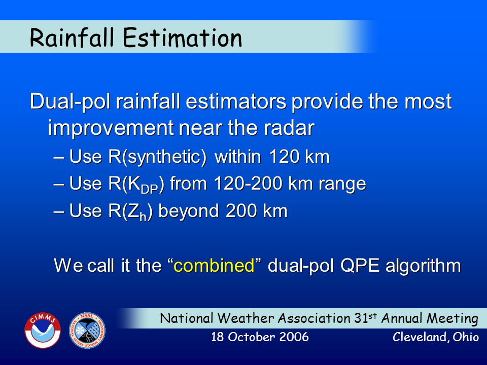 National Weather Association 31 st Annual Meeting 18 October 2006 Cleveland, Ohio Rainfall Estimation Dual-pol rainfall estimators provide the most im