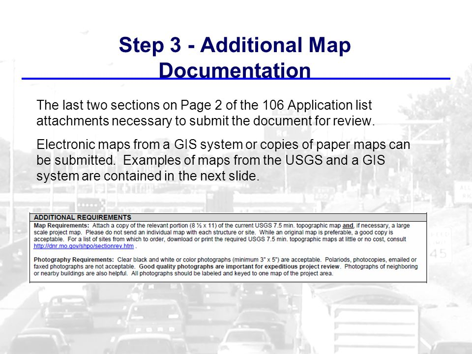 Step 3 - Additional Map Documentation The last two sections on Page 2 of the 106 Application list attachments necessary to submit the document for review.