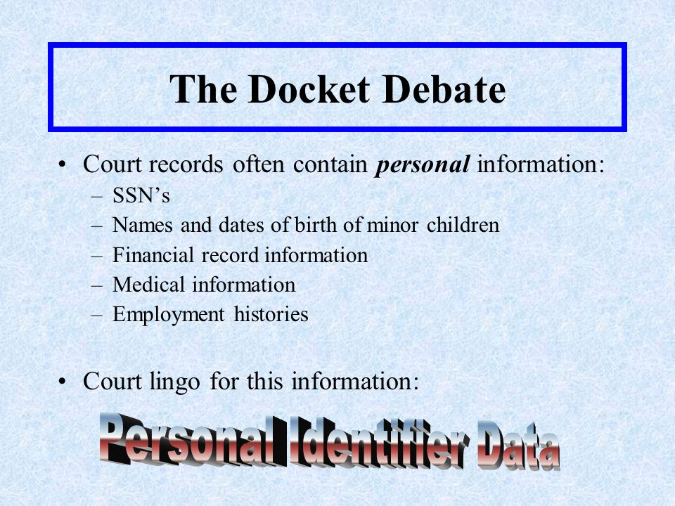 The Docket Debate Most Likely Cases for Personal Identifier Data –Domestic relations –Child custody –Adoptions and juvenile matters –Employment terminations –Disability Discrimination –Medical malpractice –Bankruptcies –Juvenile matters –Traffic tickets