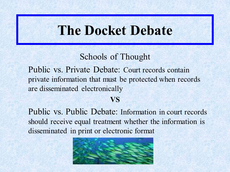The Docket Debate Alternative Solutions: –Complete ban on all court records –Ban only certain information such as SSN's, bank account numbers, credit card numbers, driver's license numbers, addresses, and full names of people –Use protective orders or seal certain records –Require a permissible purpose to access court records –Post only indexes, registers and calendars