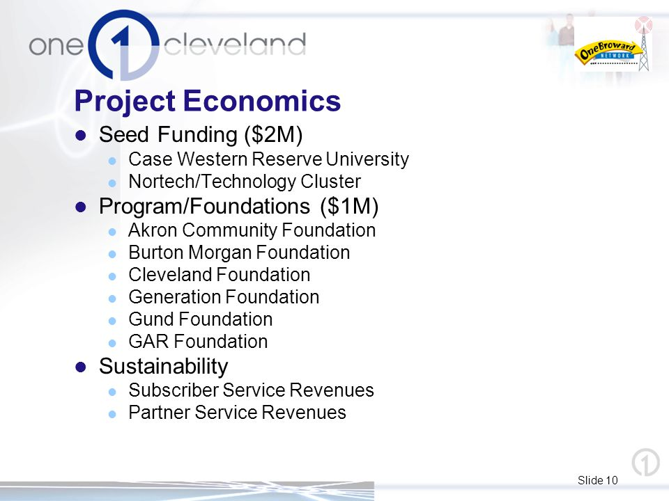 Slide 10 Project Economics Seed Funding ($2M) Case Western Reserve University Nortech/Technology Cluster Program/Foundations ($1M) Akron Community Foundation Burton Morgan Foundation Cleveland Foundation Generation Foundation Gund Foundation GAR Foundation Sustainability Subscriber Service Revenues Partner Service Revenues