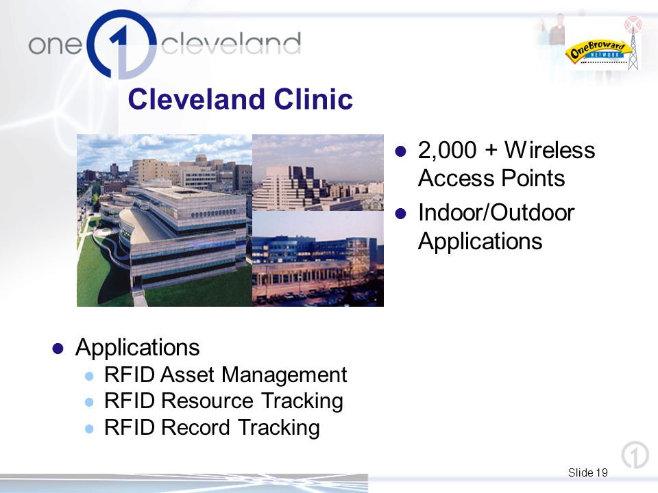 Slide 19 Cleveland Clinic 2,000 + Wireless Access Points Indoor/Outdoor Applications Applications RFID Asset Management RFID Resource Tracking RFID Record Tracking