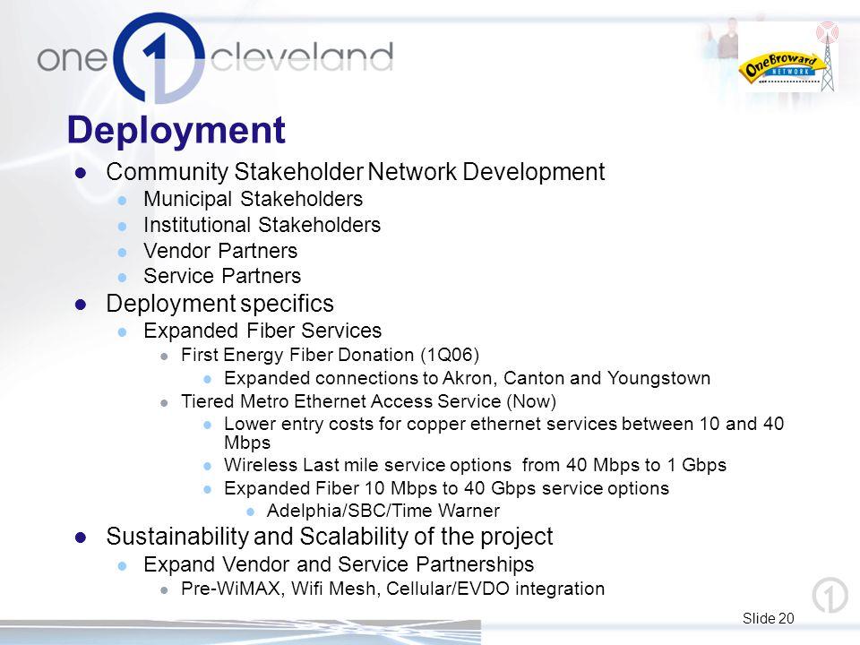 Slide 20 Deployment Community Stakeholder Network Development Municipal Stakeholders Institutional Stakeholders Vendor Partners Service Partners Deplo