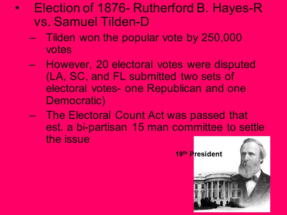 Election of 1876- Rutherford B. Hayes-R vs.