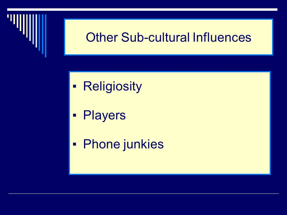 Other Sub-cultural Influences ▪Religiosity ▪Players ▪Phone junkies