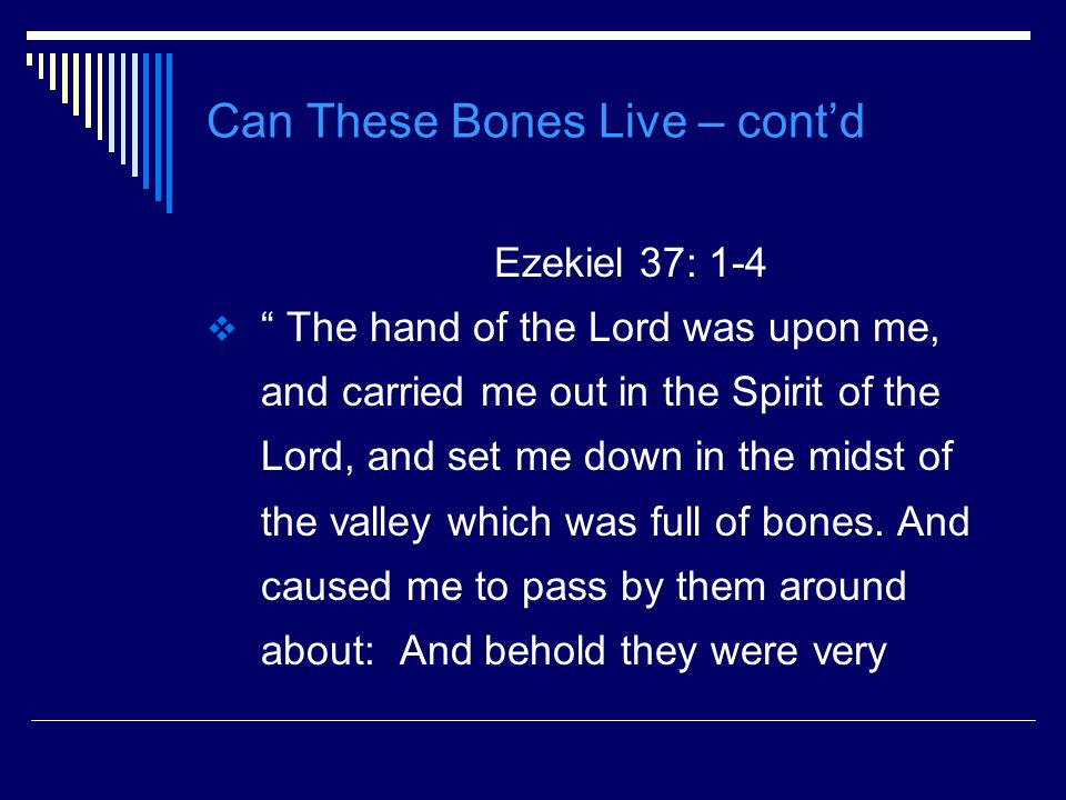 Can These Bones Live – cont'd Ezekiel 37: 1-4  The hand of the Lord was upon me, and carried me out in the Spirit of the Lord, and set me down in the midst of the valley which was full of bones.