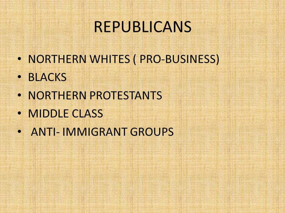 REPUBLICANS NORTHERN WHITES ( PRO-BUSINESS) BLACKS NORTHERN PROTESTANTS MIDDLE CLASS ANTI- IMMIGRANT GROUPS