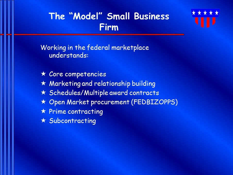 The Model Small Business Firm Working in the federal marketplace understands:  Core competencies  Marketing and relationship building  Schedules/Multiple award contracts  Open Market procurement (FEDBIZOPPS)  Prime contracting  Subcontracting