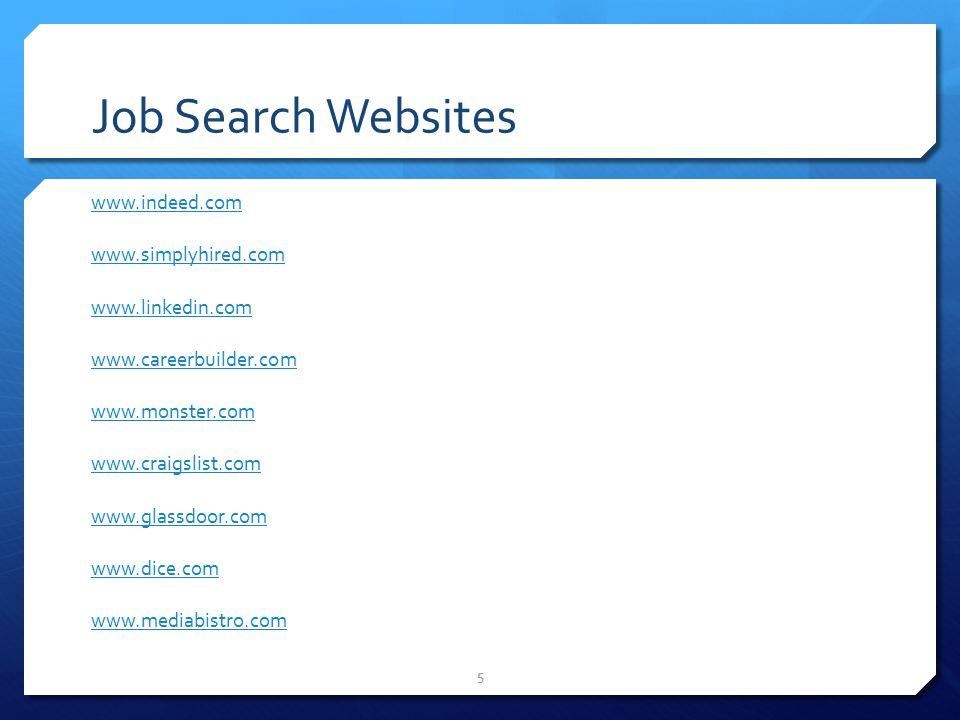 5 Job Search Websites www.indeed.com www.simplyhired.com www.linkedin.com www.careerbuilder.com www.monster.com www.craigslist.com www.glassdoor.com www.dice.com www.mediabistro.com