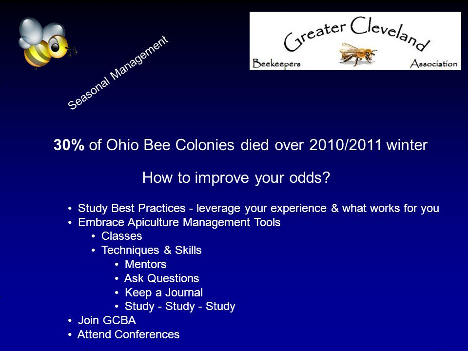 30% of Ohio Bee Colonies died over 2010/2011 winter How to improve your odds? Study Best Practices - leverage your experience & what works for you Emb