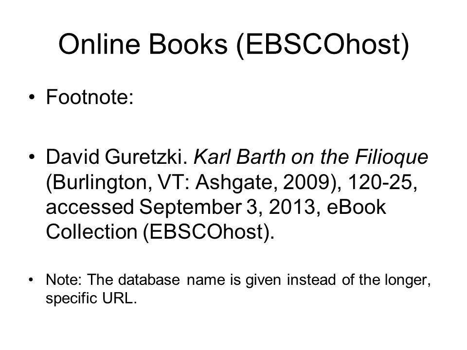 Online Books (EBSCOhost) Footnote: David Guretzki.