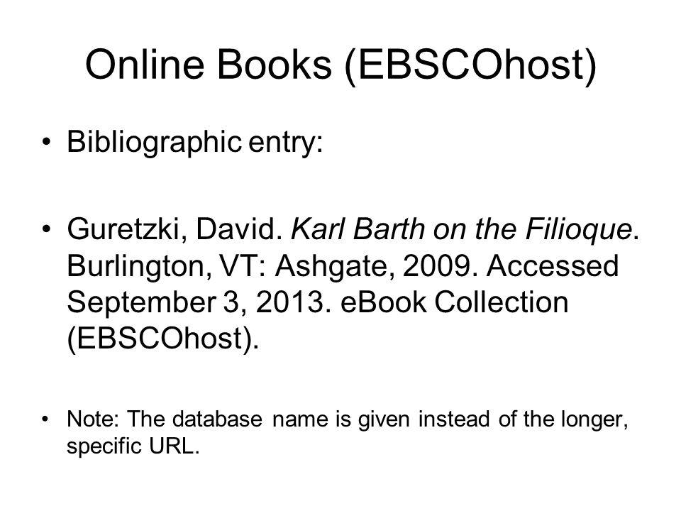 Online Books (EBSCOhost) Bibliographic entry: Guretzki, David.