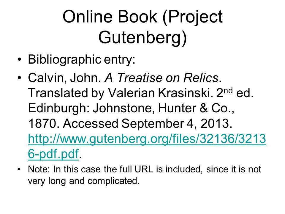 Online Book (Project Gutenberg) Bibliographic entry: Calvin, John.