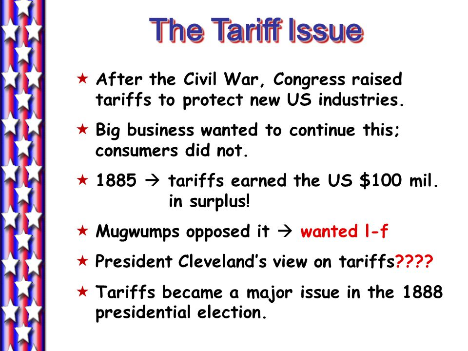 The Tariff Issue  After the Civil War, Congress raised tariffs to protect new US industries.