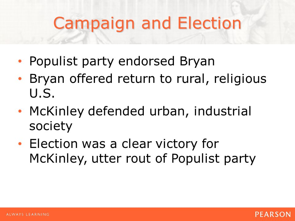 Campaign and Election Populist party endorsed Bryan Bryan offered return to rural, religious U.S.