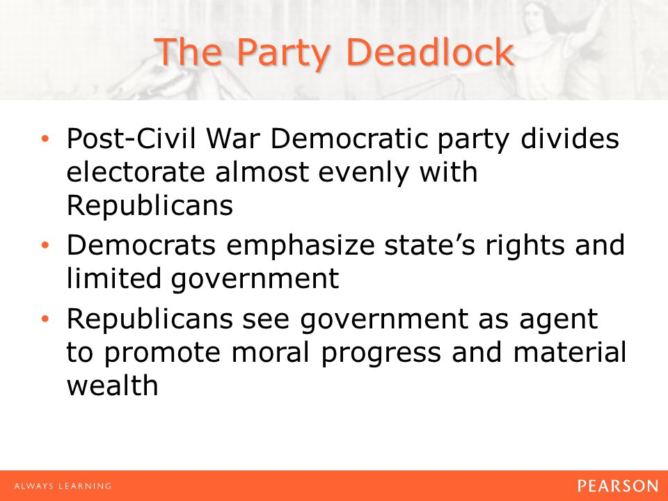 The Party Deadlock Post-Civil War Democratic party divides electorate almost evenly with Republicans Democrats emphasize state's rights and limited government Republicans see government as agent to promote moral progress and material wealth