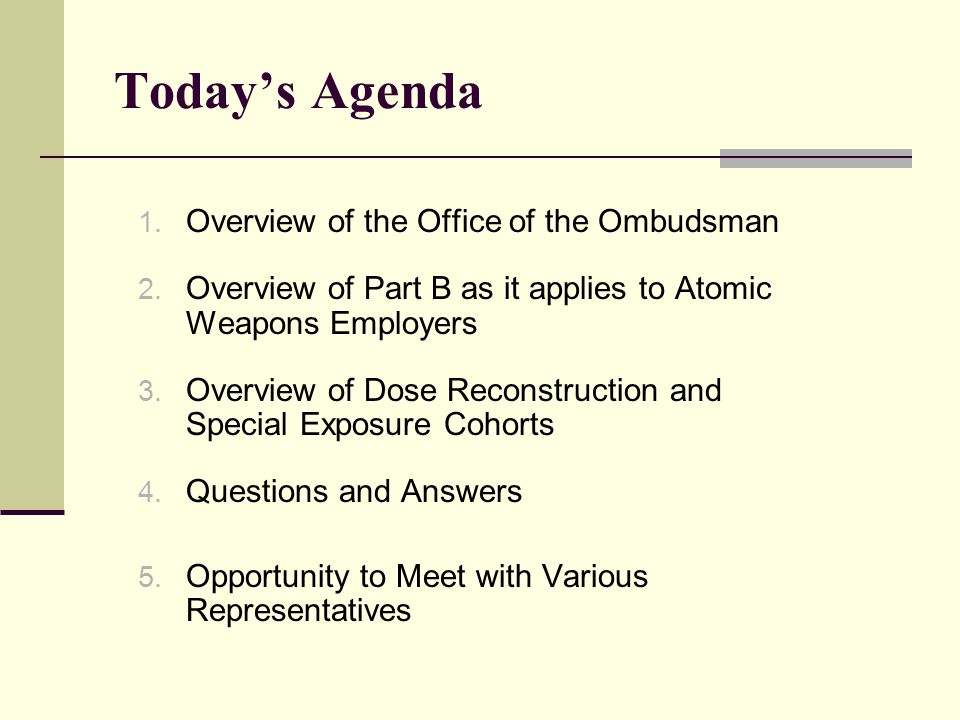 Today's Agenda 1. Overview of the Office of the Ombudsman 2.