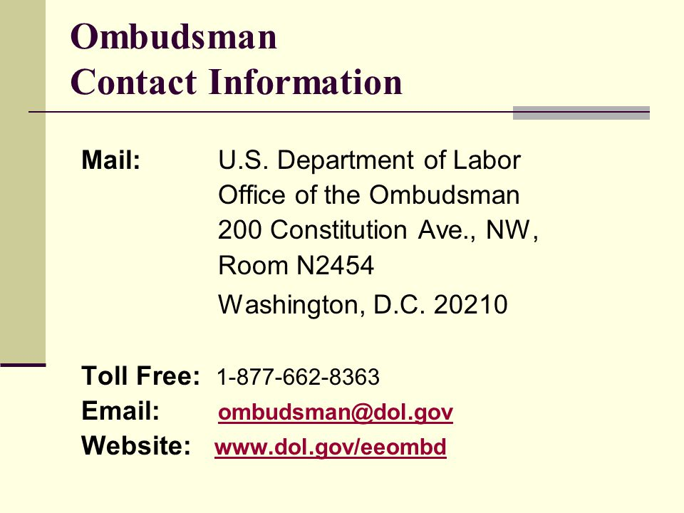 Ombudsman Contact Information Mail: U.S.