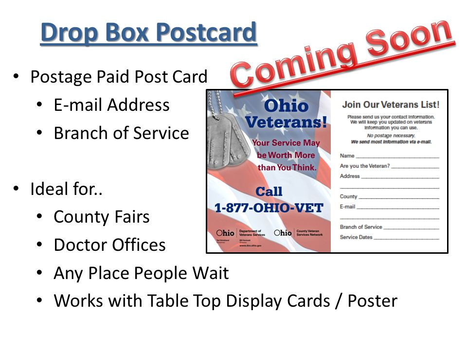 Drop Box Postcard Postage Paid Post Card E-mail Address Branch of Service Ideal for..