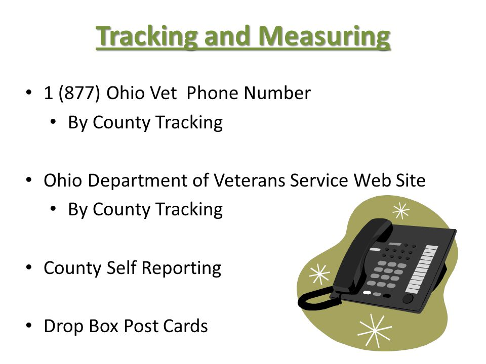 Tracking and Measuring 1 (877) Ohio Vet Phone Number By County Tracking Ohio Department of Veterans Service Web Site By County Tracking County Self Reporting Drop Box Post Cards